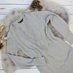 BCBG MAXAZRIA grey cashmere blend sweater dress